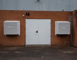 Acoustic door and louvres