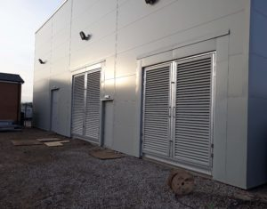 Power plant, acoustic ventilation units